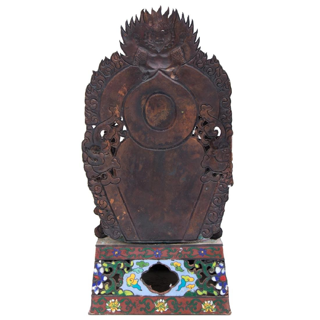 A Tibetan Cloisonné and Metal Firugre of a Deity, 20th - 3
