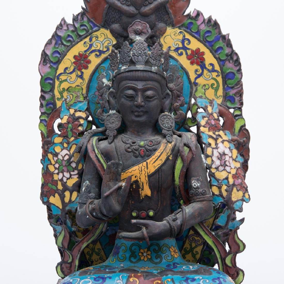 A Tibetan Cloisonné and Metal Firugre of a Deity, 20th - 4