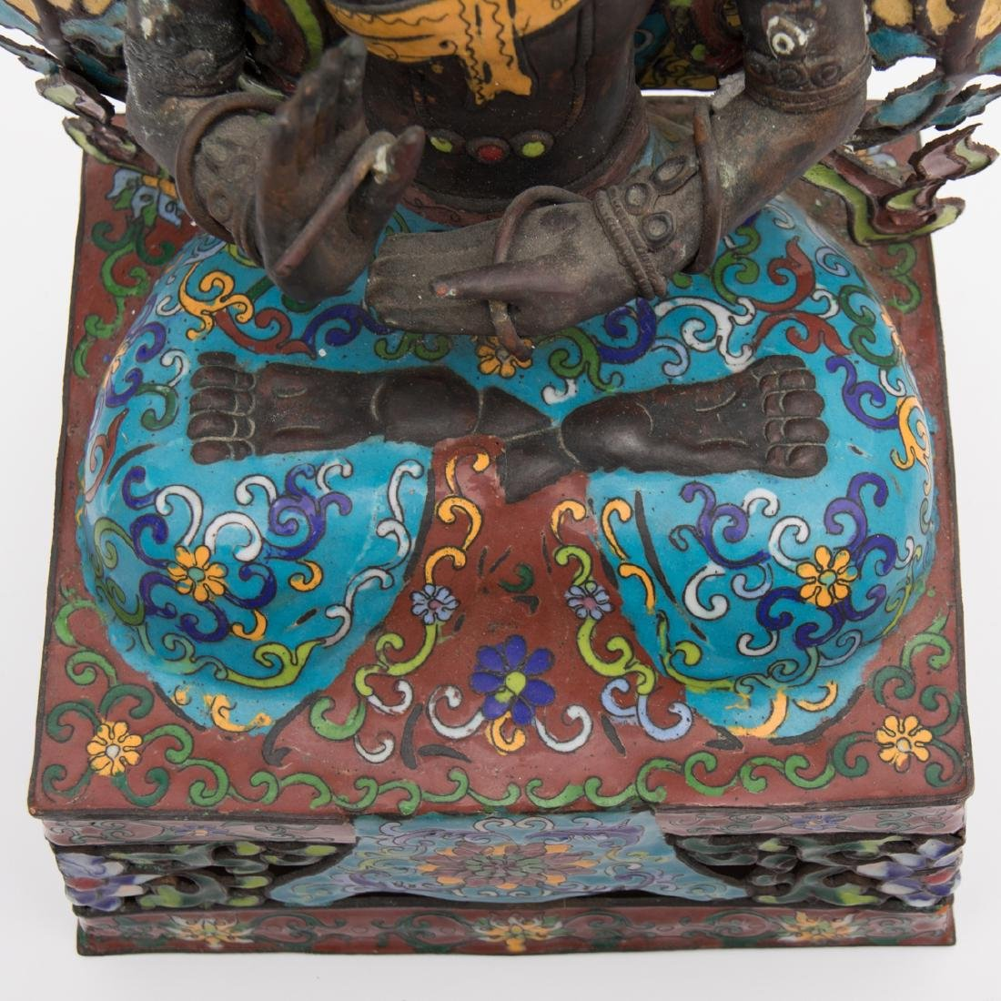 A Tibetan Cloisonné and Metal Firugre of a Deity, 20th - 5