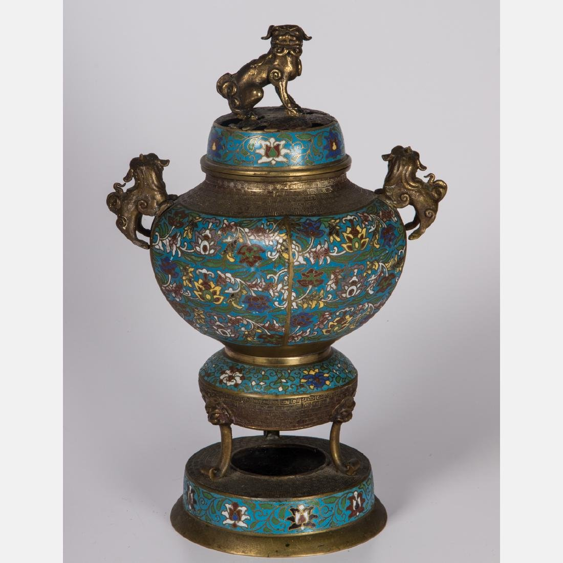 A Chinese Brass and Cloisonné Censer, 20th Century,