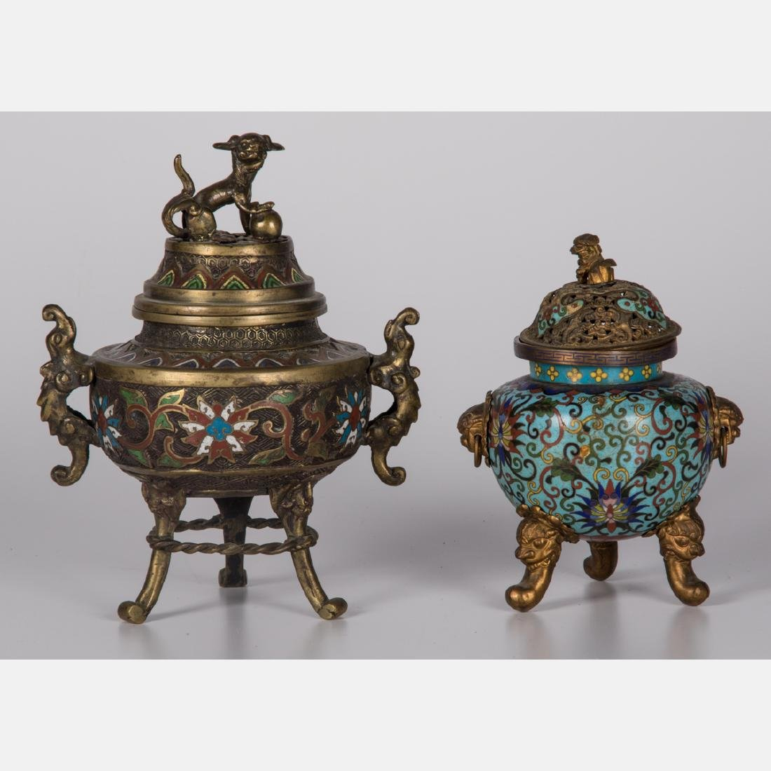 Two Chinese Brass and Cloisonné Censers, 19th/20th
