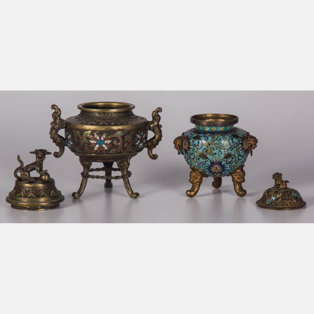 Two Chinese Brass and Cloisonné Censers, 19th/20th - 2