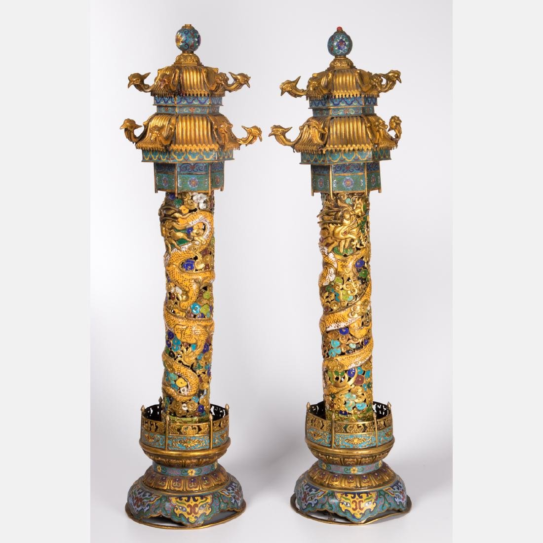 A Pair of Chinese Cloisonné and Gilt Brass Pagoda Form