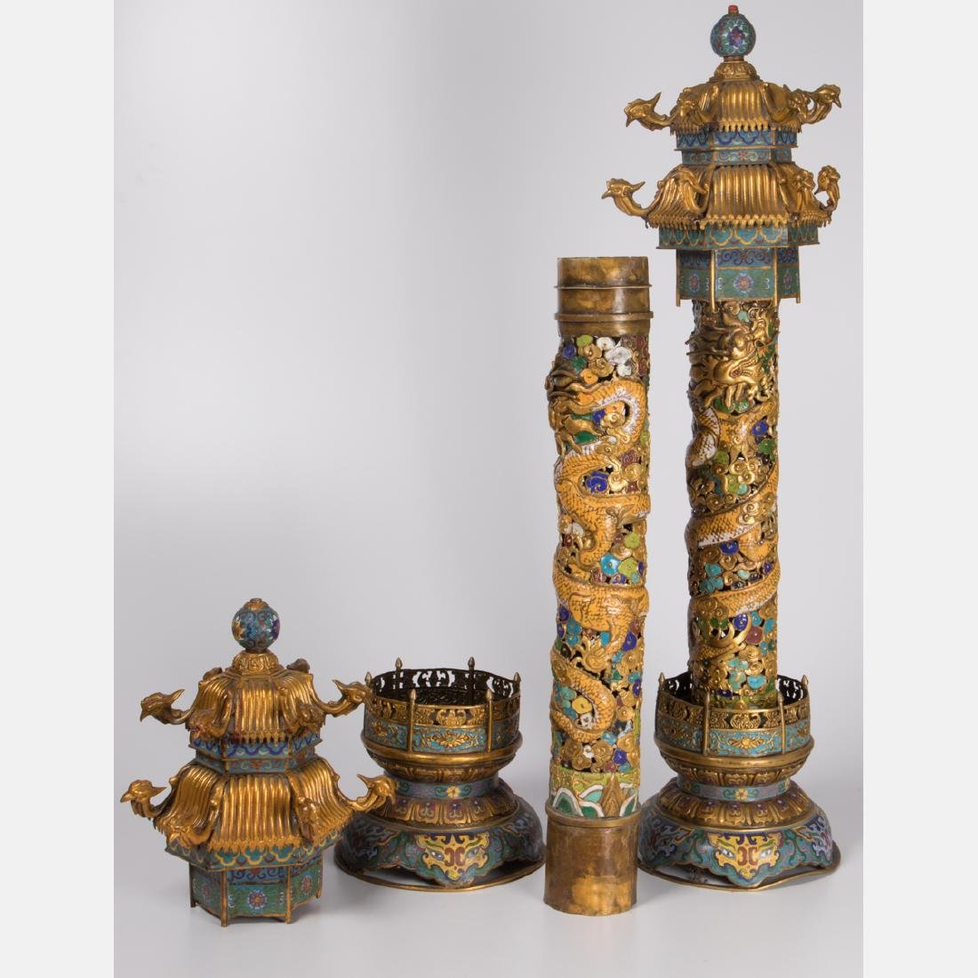 A Pair of Chinese Cloisonné and Gilt Brass Pagoda Form - 2