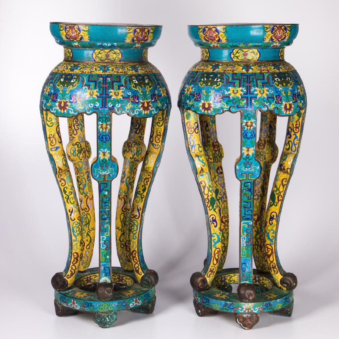 A Pair of Chinese Cloisonné Pedestals, Early 20th