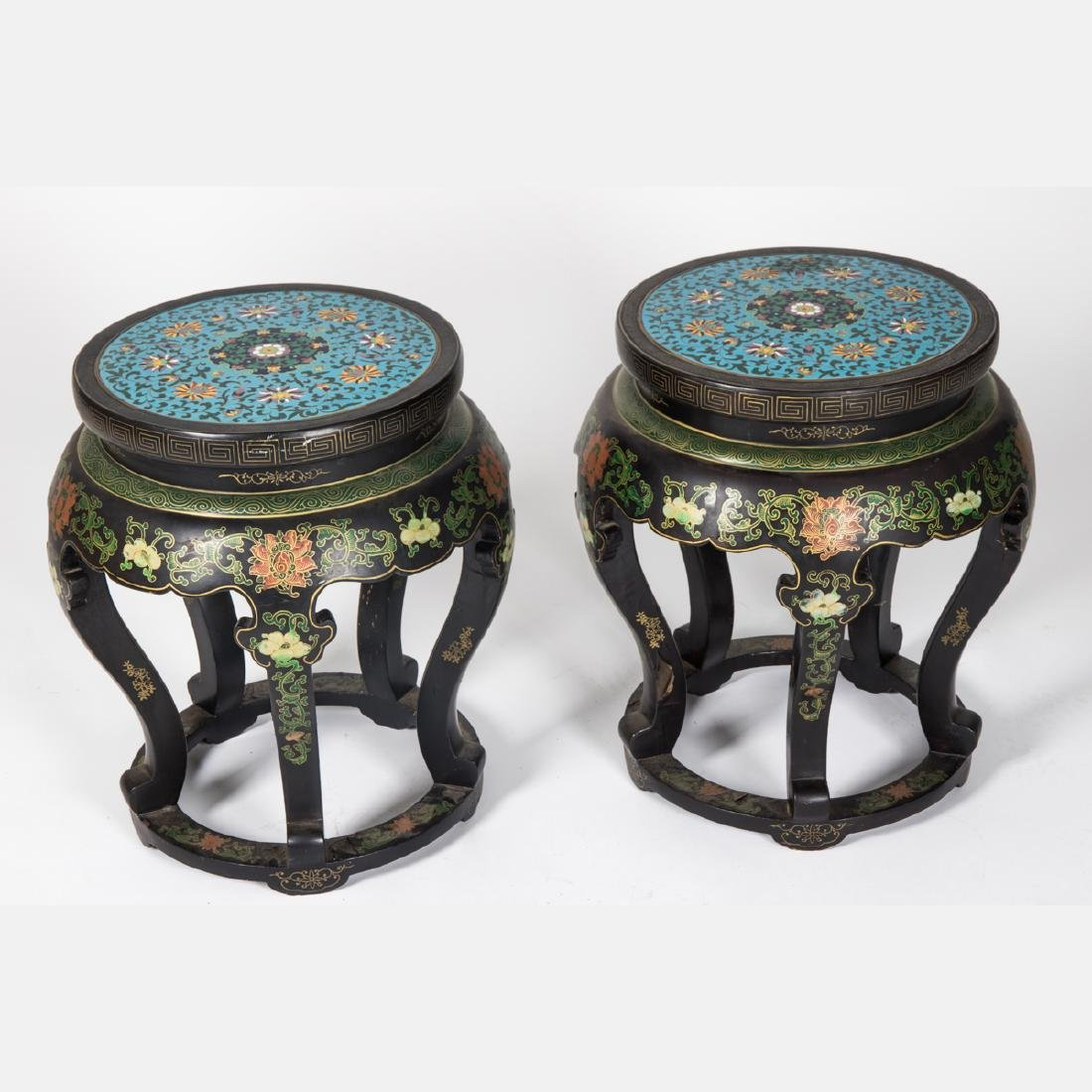 A Pair of Chinese Cloisonné and Painted Wood Pedestals,
