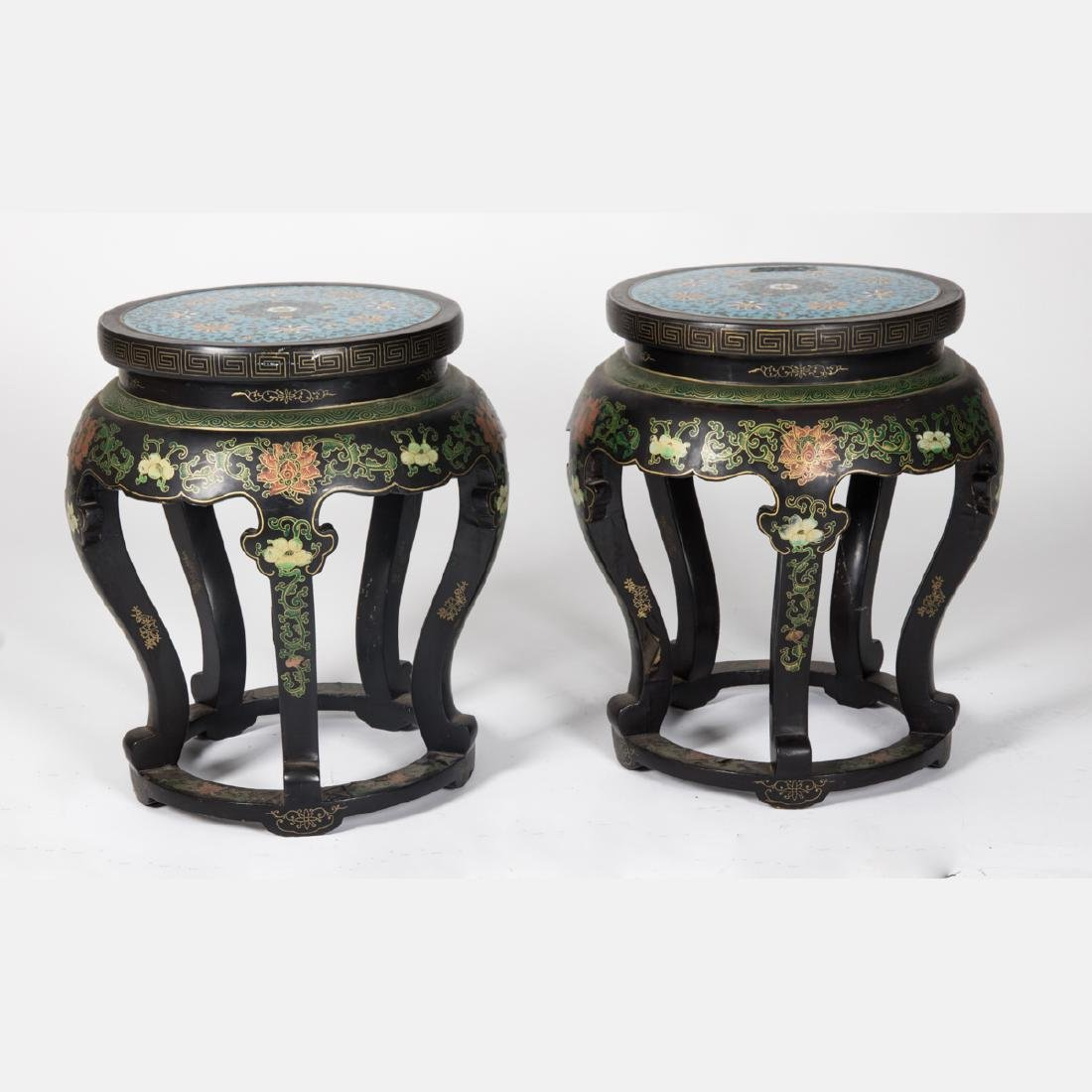 A Pair of Chinese Cloisonné and Painted Wood Pedestals, - 2