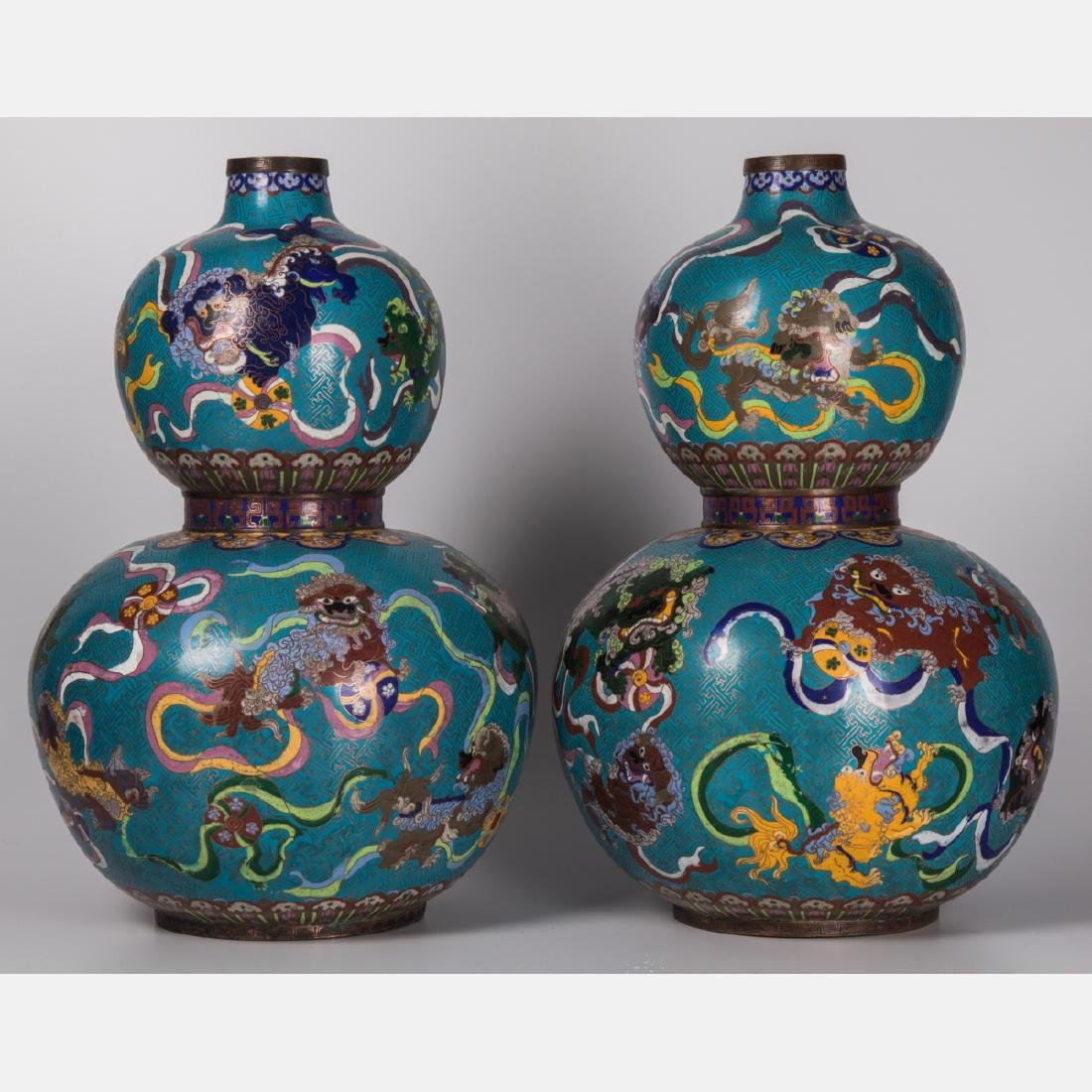 A Pair of Chinese Cloisonné, Double Gourd Vases, 20th