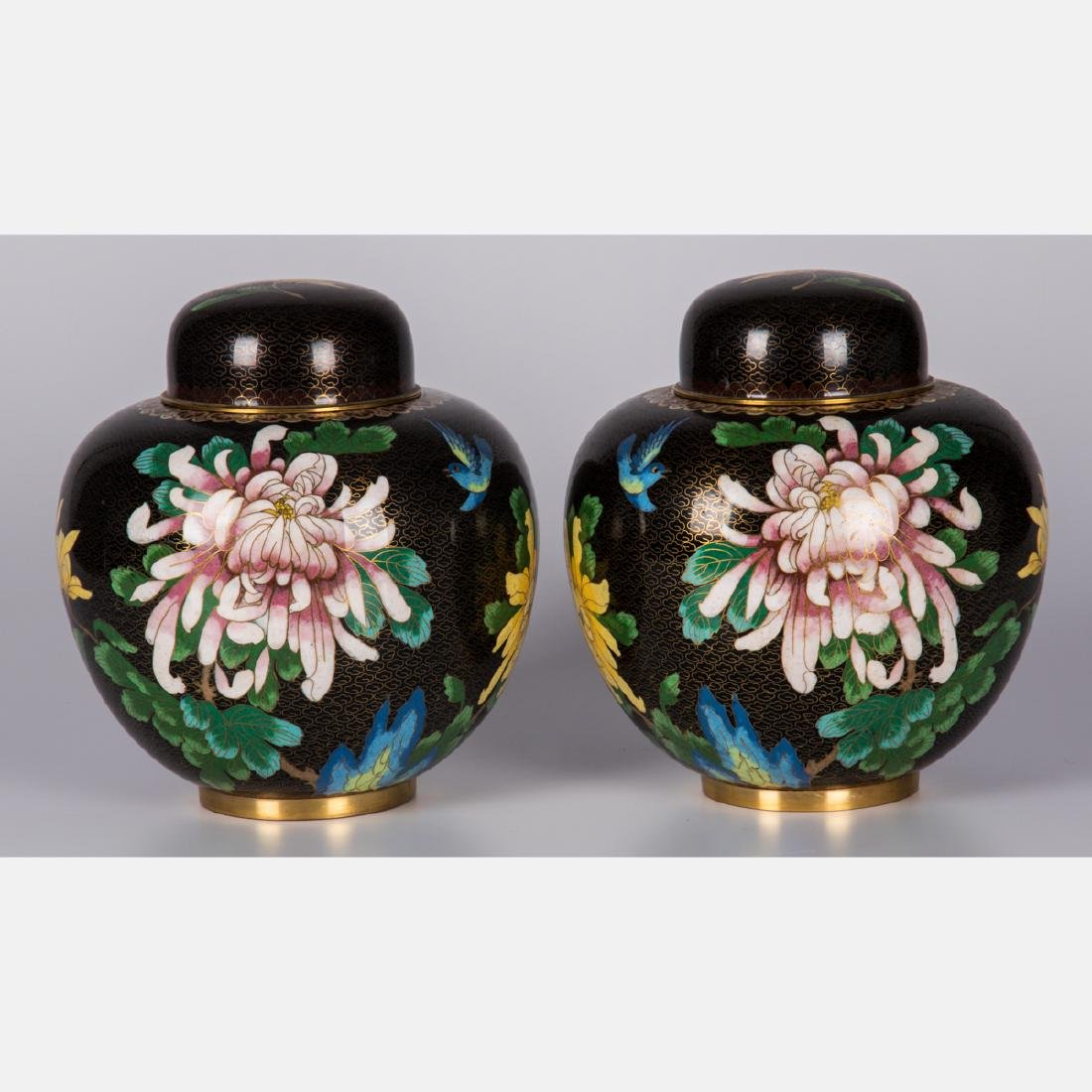 A Pair of Chinese Cloisonné Lidded Ginger Jars, 20th