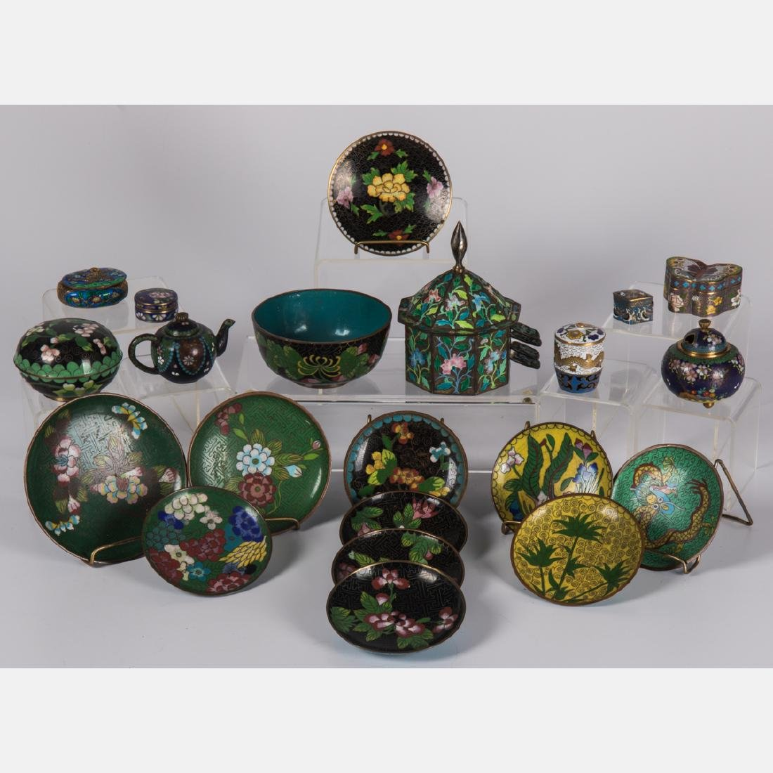 A Group of Twenty-One Chinese Cloisonné Serving and
