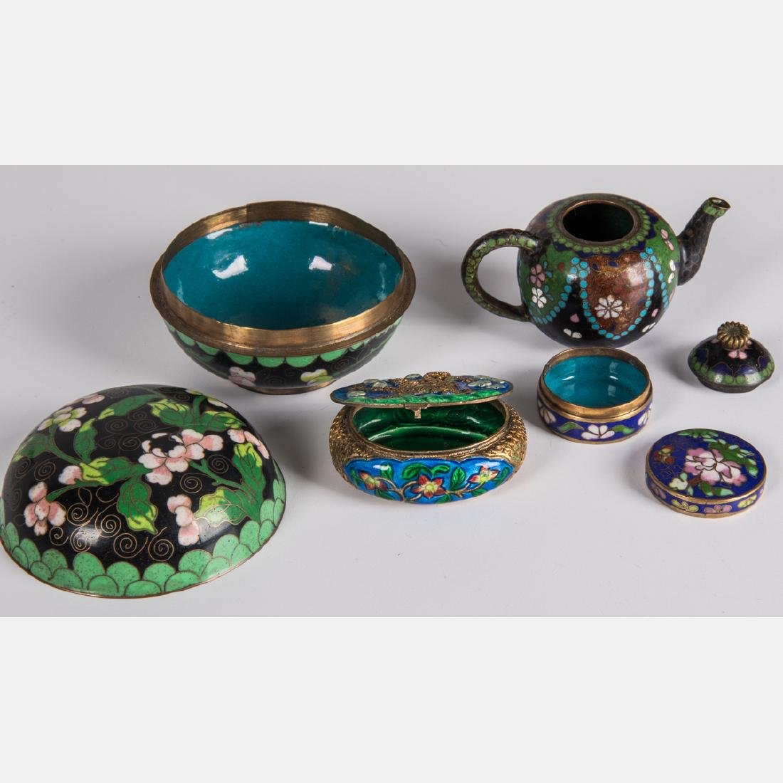 A Group of Twenty-One Chinese Cloisonné Serving and - 2