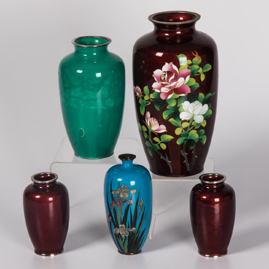 A Group of Five Japanese Enameled Vases of Varying