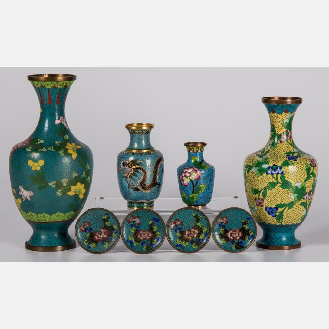A Group of Eight Chinese Cloisonné Serving and