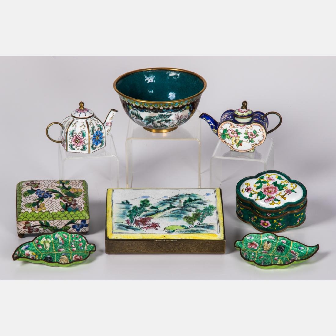 A Group of Eight Chinese Cloisonné and Enameled