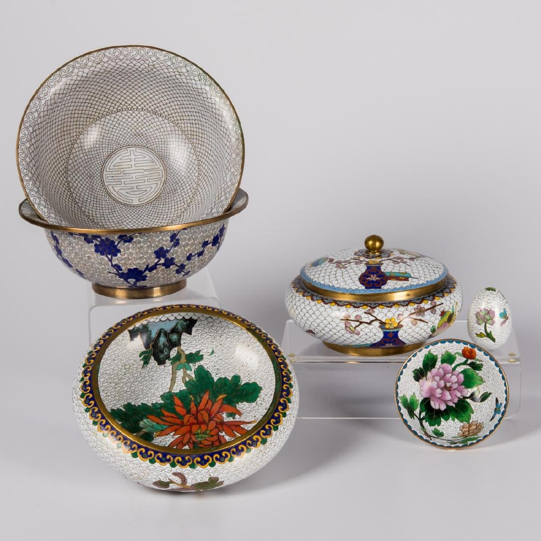 A Group of Six Chinese Cloisonné Serving and Decorative