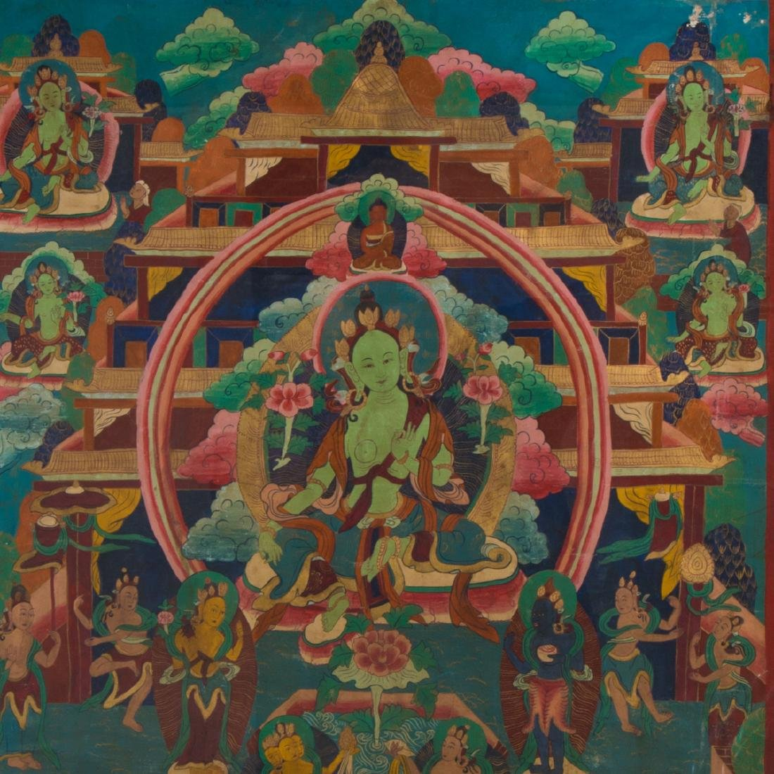 An Antique Sino-Tibetan Painted Thangka, - 4