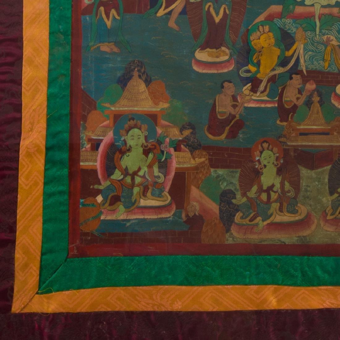 An Antique Sino-Tibetan Painted Thangka, - 5