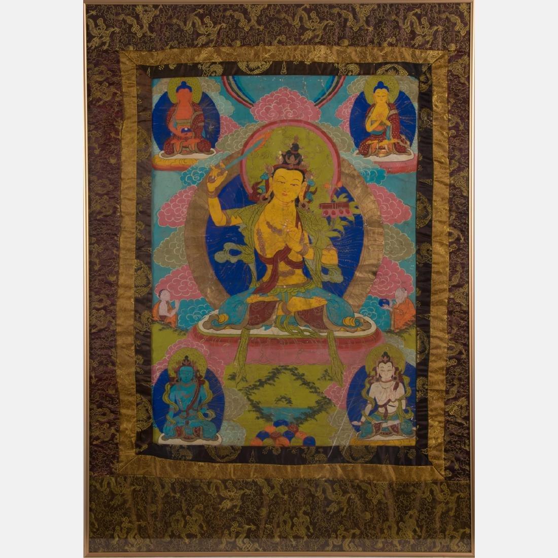 An Antique Sino-Tibetan Painted Thangka,