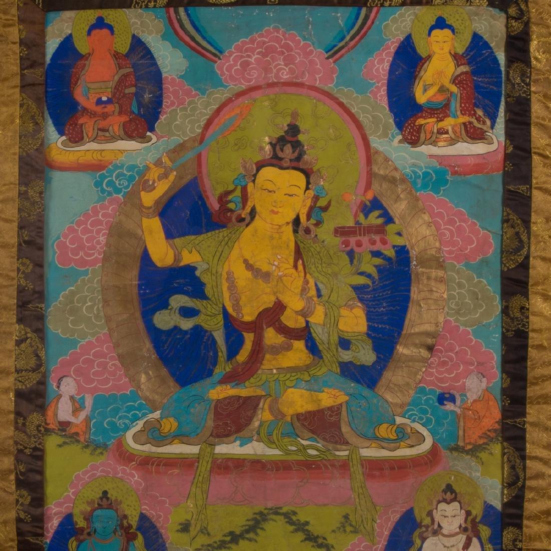 An Antique Sino-Tibetan Painted Thangka, - 2