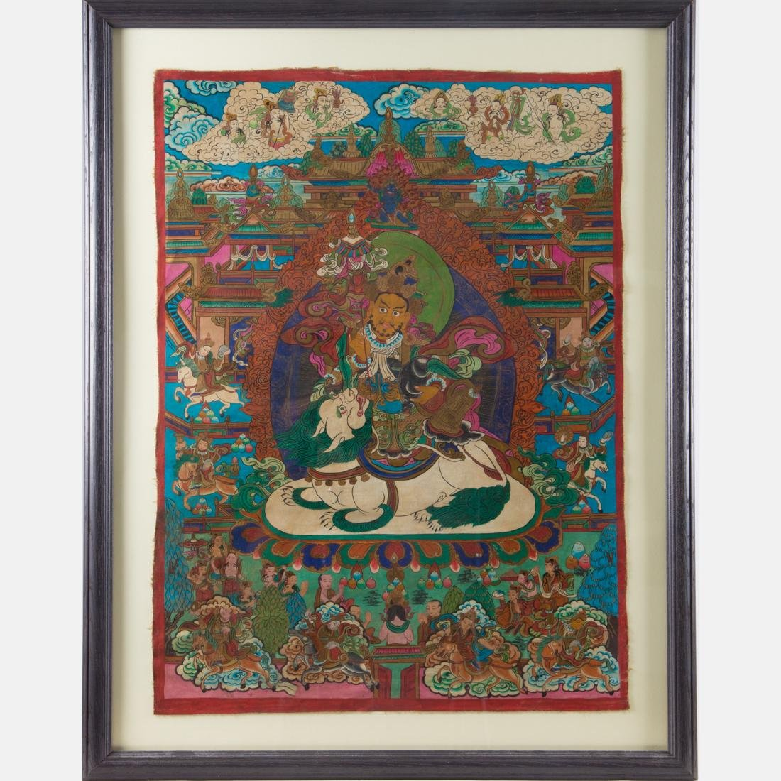 An Antique Sino-Tibetan Painted Thangka,
