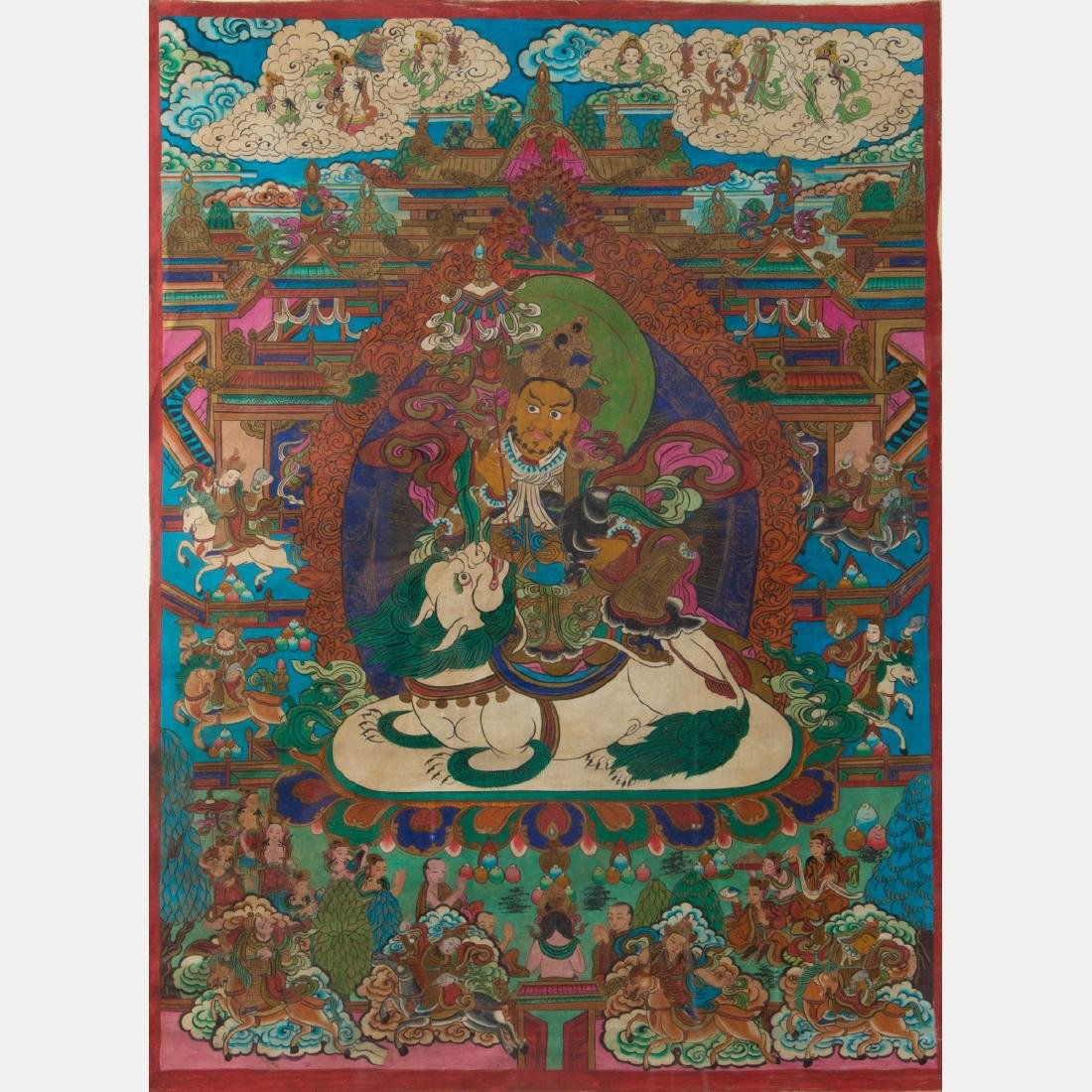 An Antique Sino-Tibetan Painted Thangka, - 2