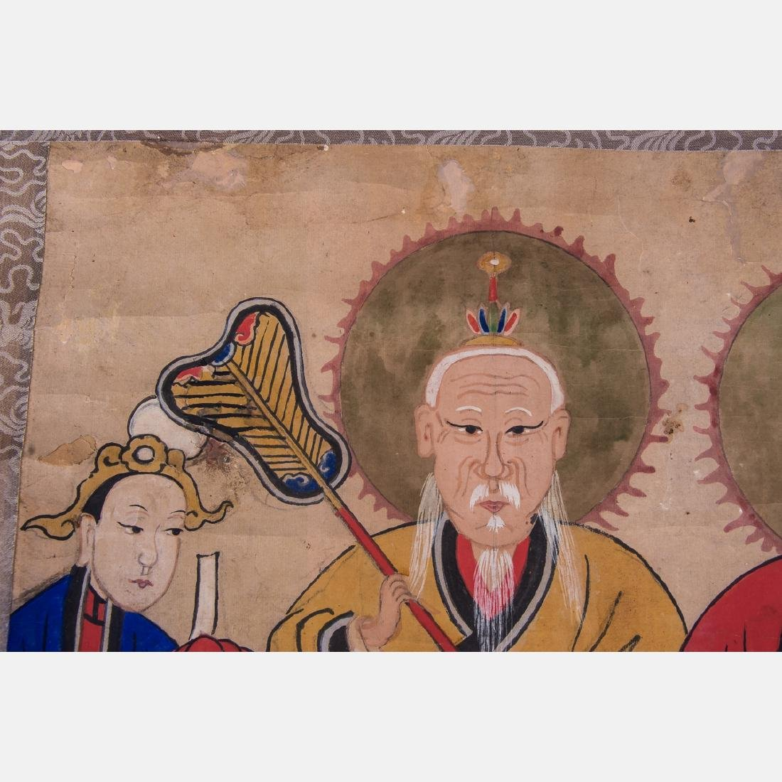 A Chinese Scroll Painting Depicting Taoist Immortals, - 2
