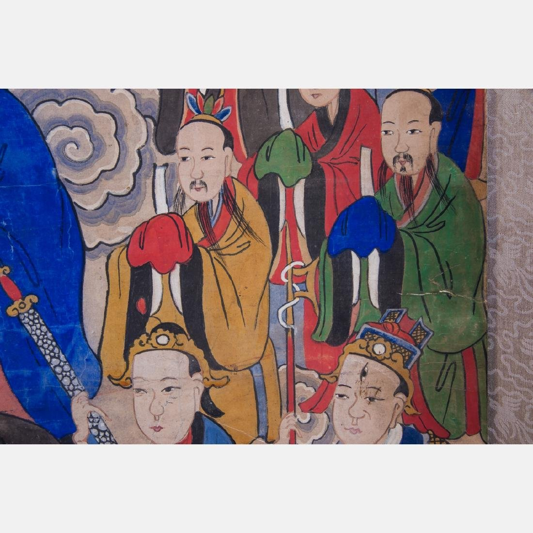 A Chinese Scroll Painting Depicting Taoist Immortals, - 5