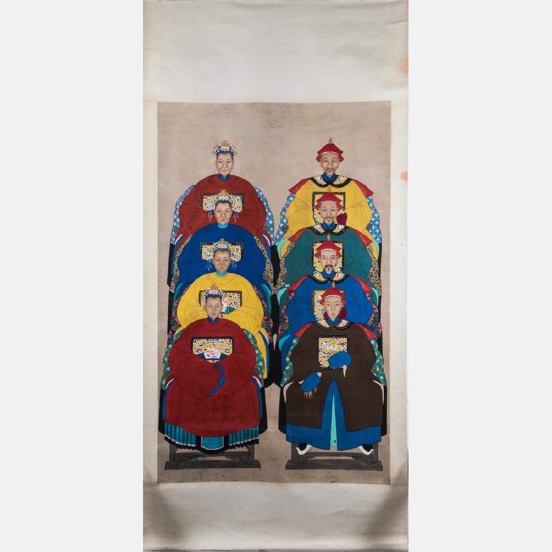 A Chinese Ancestral Portrait Group, 19th/20th Century,