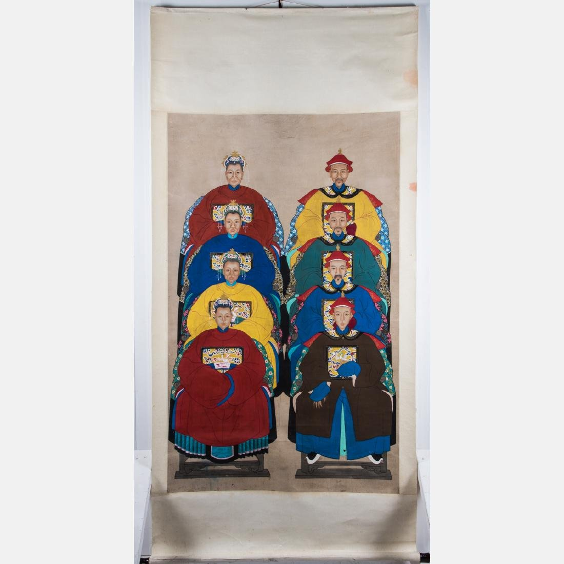 A Chinese Ancestral Portrait Group, 19th/20th Century, - 3
