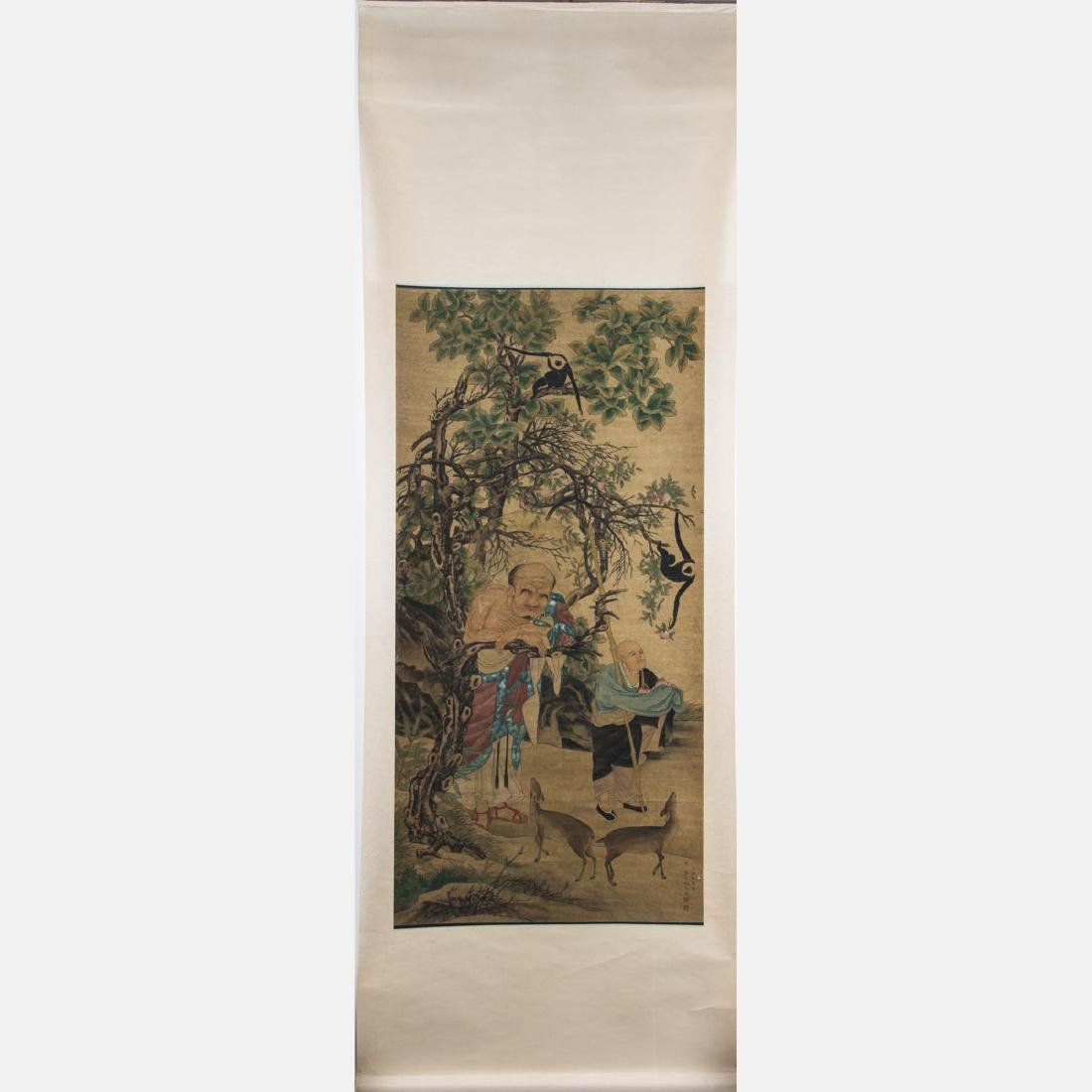 After Liu Songnian (1155-1218) Lohan with Gibbon Ink