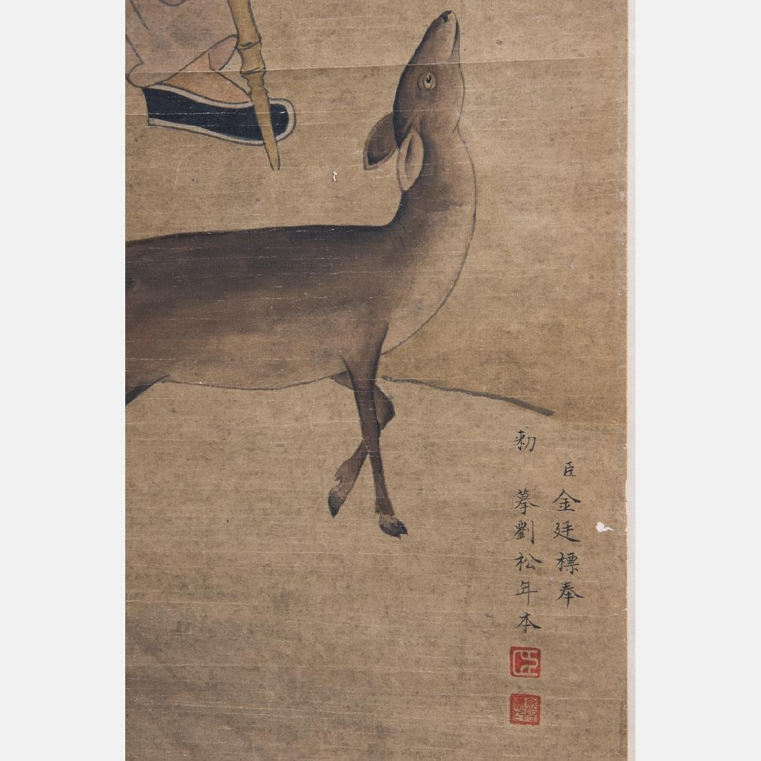 After Liu Songnian (1155-1218) Lohan with Gibbon Ink - 2