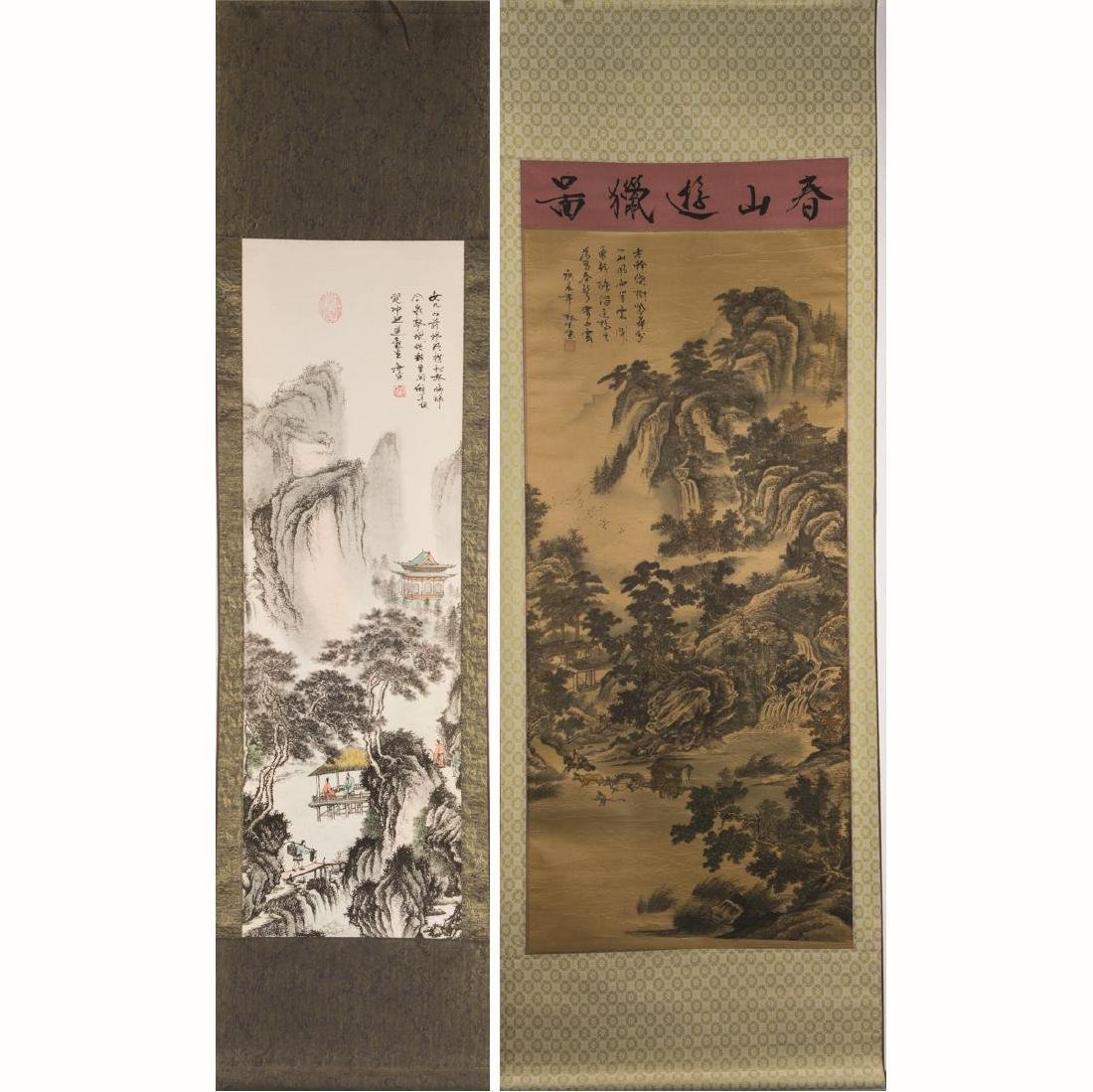 Two Chinese Printed Reproduction Scrolls, 20th Century,