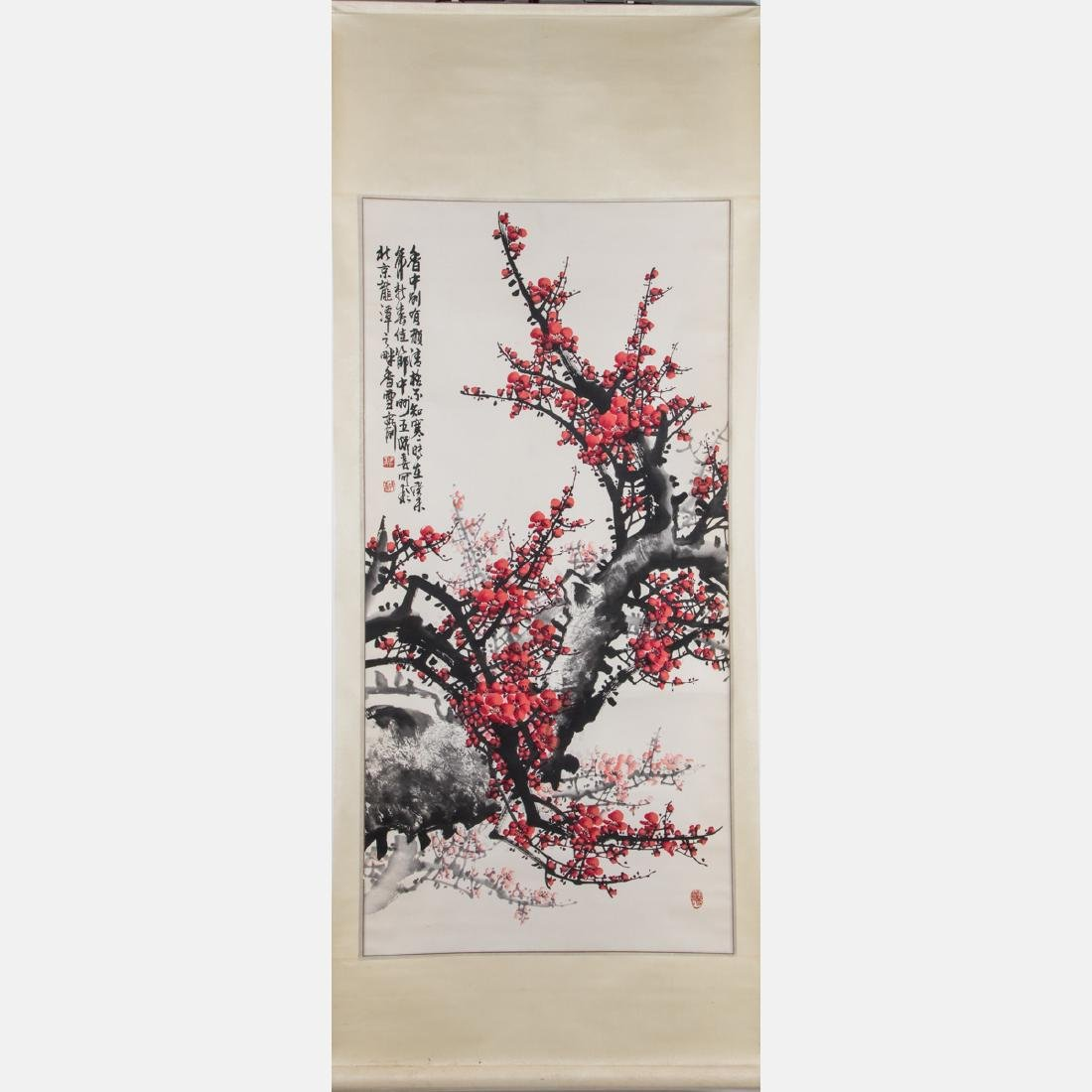 A Chinese Calligraphy Scroll Depicting a Cherry Blossom