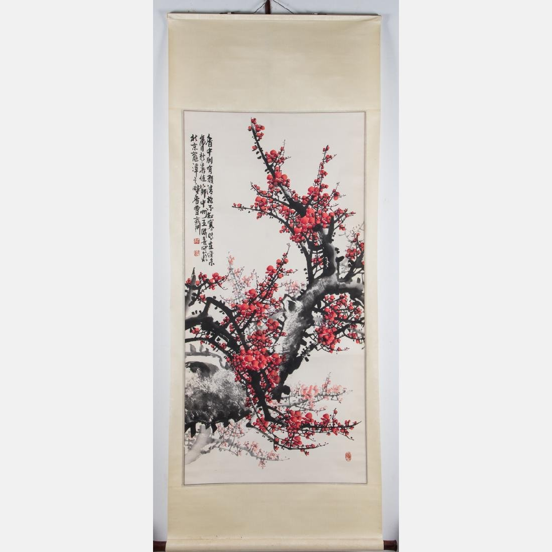 A Chinese Calligraphy Scroll Depicting a Cherry Blossom - 3