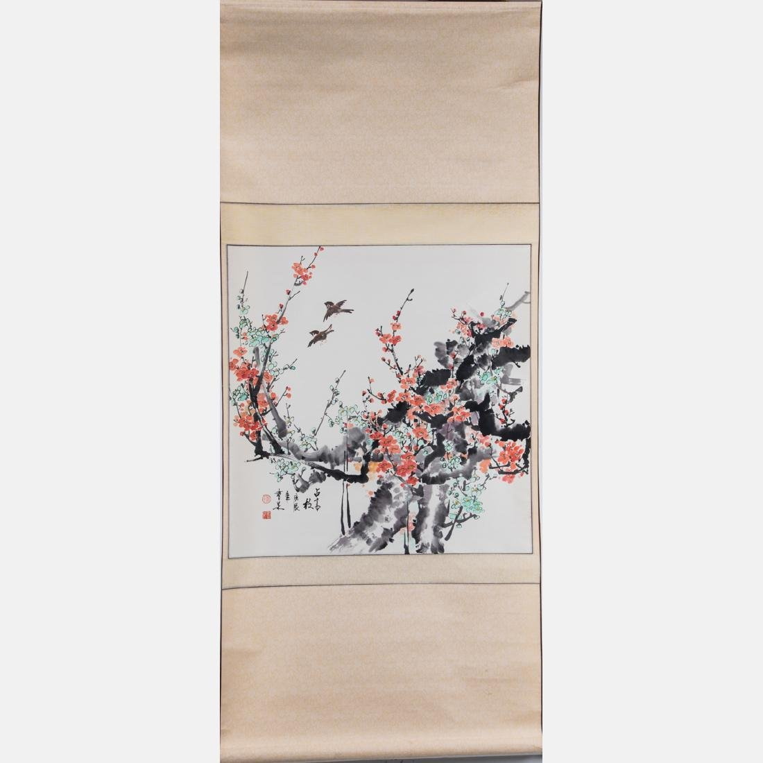 A Chinese Spring Blossom Scroll, 20th Century,