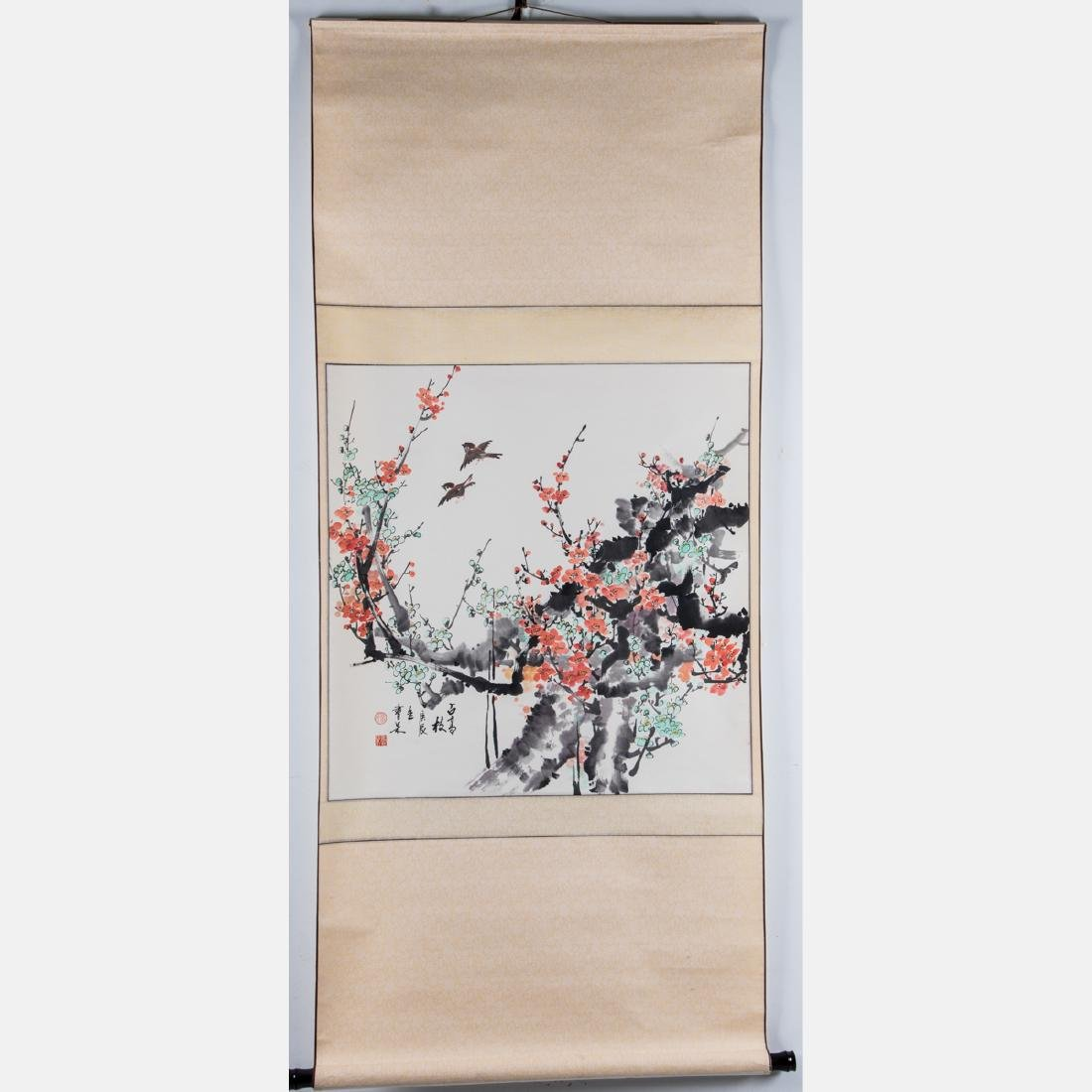 A Chinese Spring Blossom Scroll, 20th Century, - 3