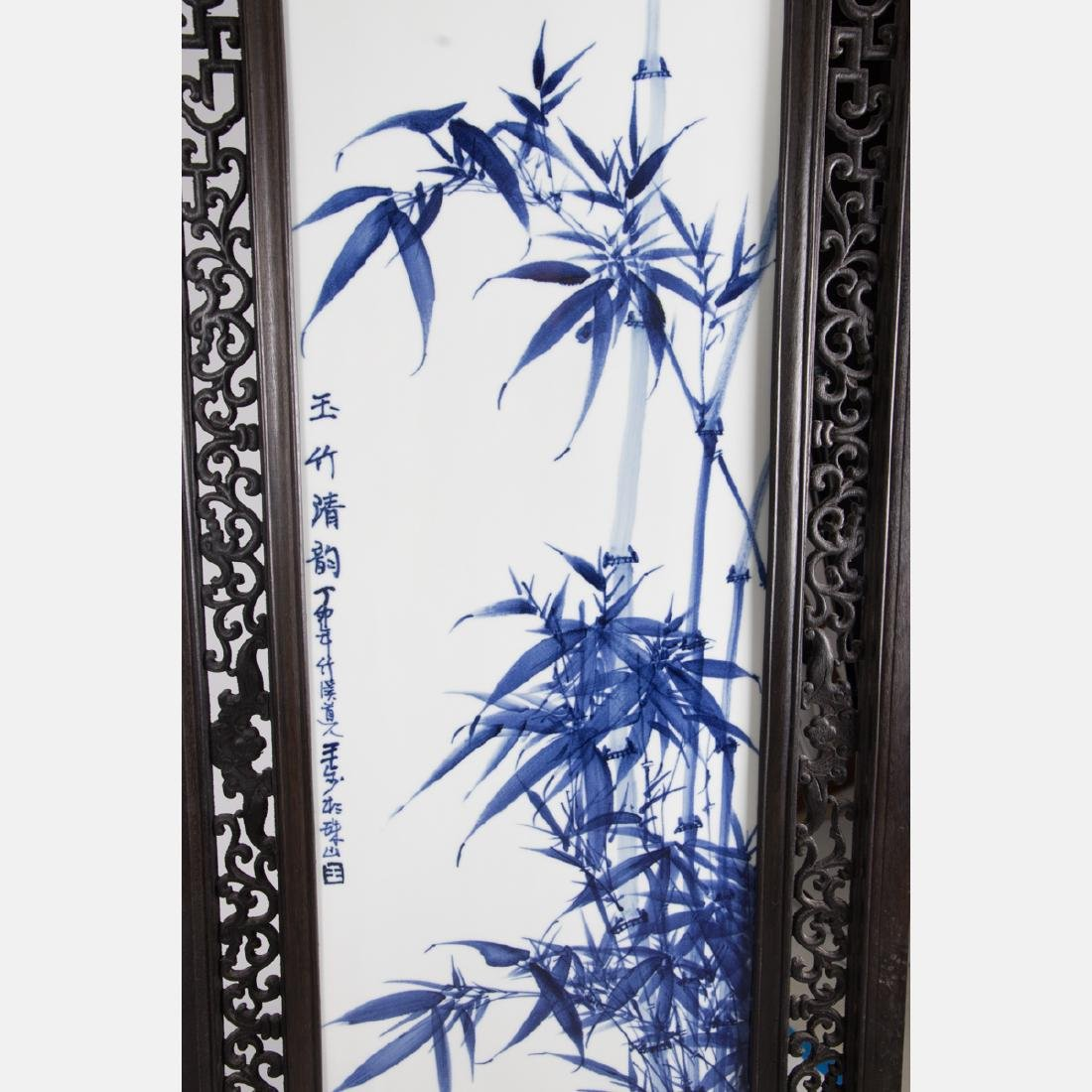 A Chinese Carved Hardwood, Blue and White Porcelain - 4
