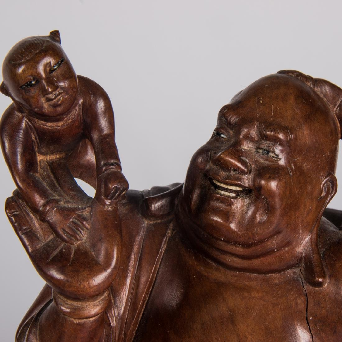 A Group of Nine Chinese Carved Hardwood Figures, - 2