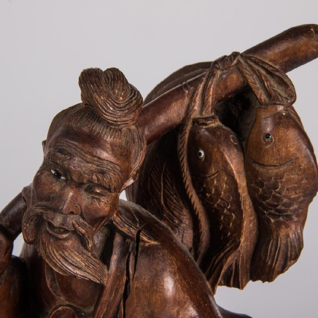 A Group of Nine Chinese Carved Hardwood Figures, - 3