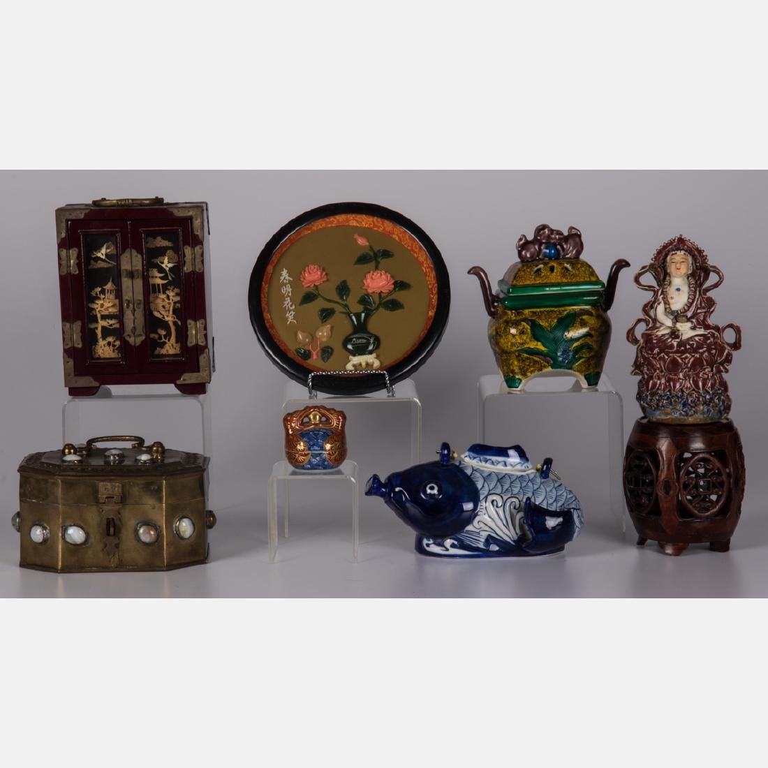 A Miscellaneous Collection of Asian Ceramic, Wood and