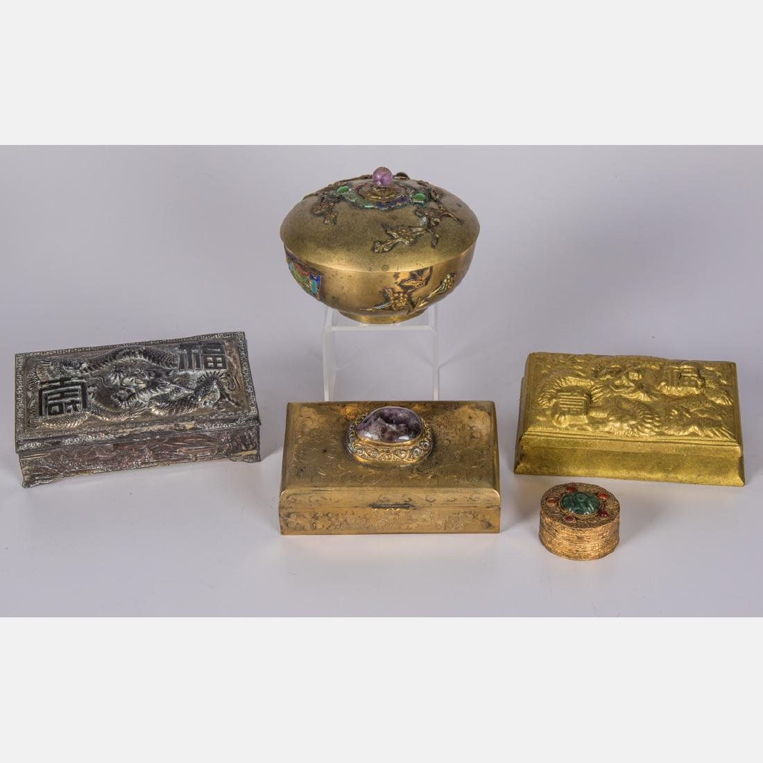 A Group of Five Asian Gilt, Silverplated and Brass