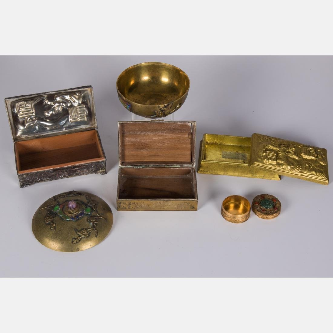 A Group of Five Asian Gilt, Silverplated and Brass - 2