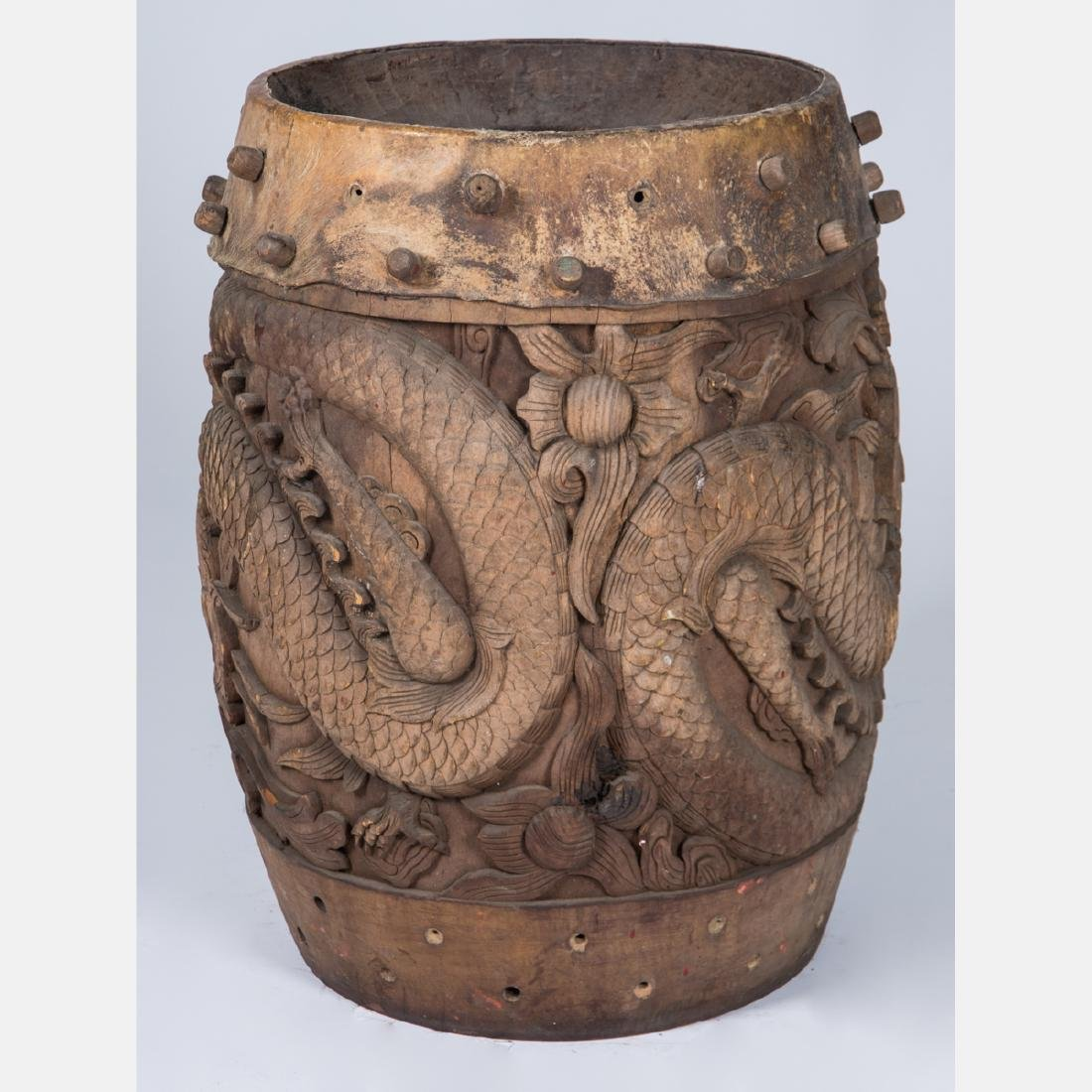 A Chinese Carved Hardwood Drum, 19th/20th Century, - 2