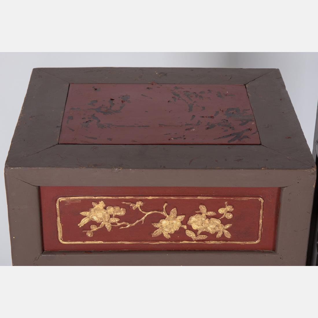 A Pair of Chinese Carved and Painted Hardwood Two Tier - 2