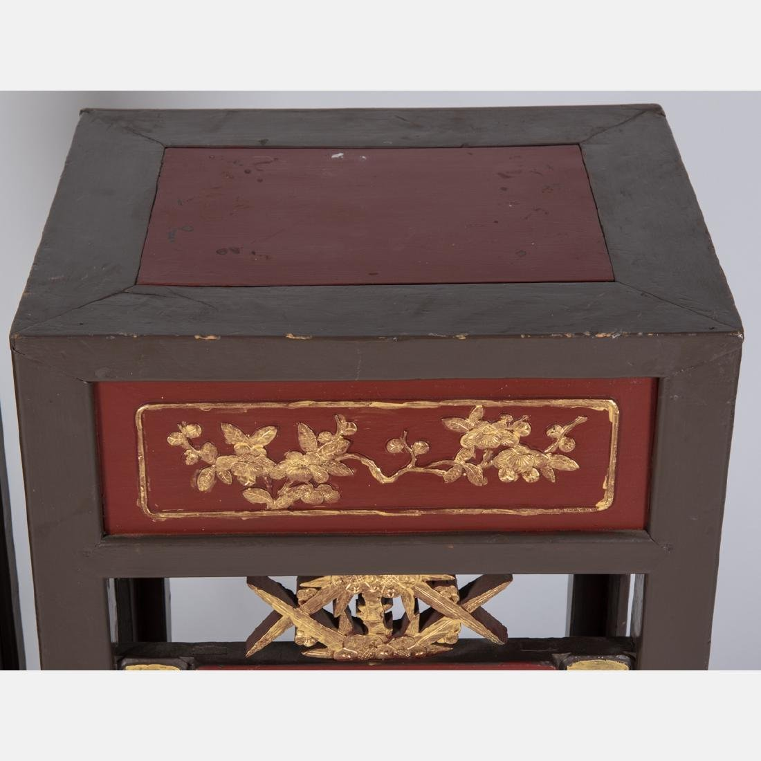 A Pair of Chinese Carved and Painted Hardwood Two Tier - 3