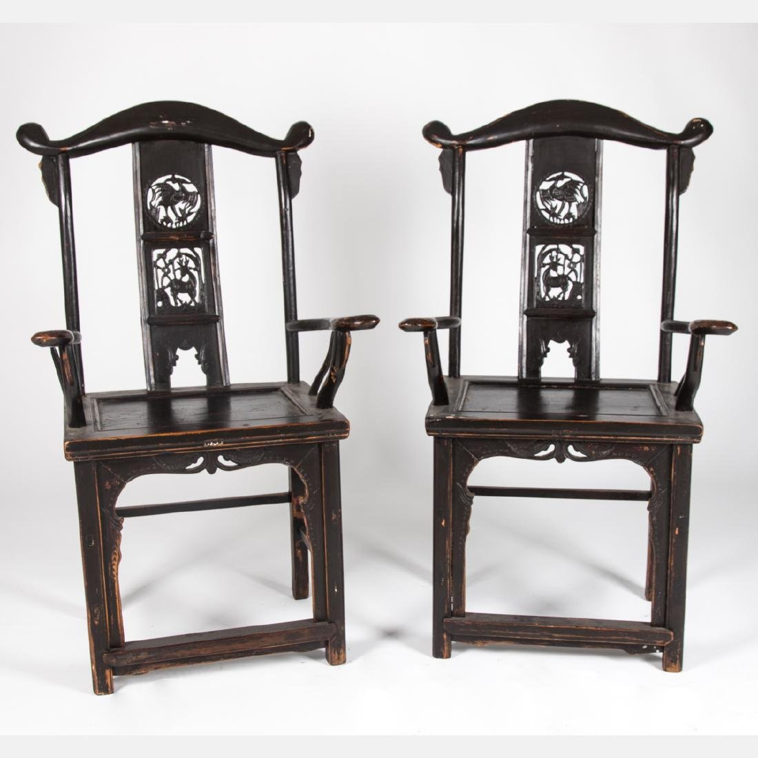 A Pair of Chinese Carved and Painted Yokeback