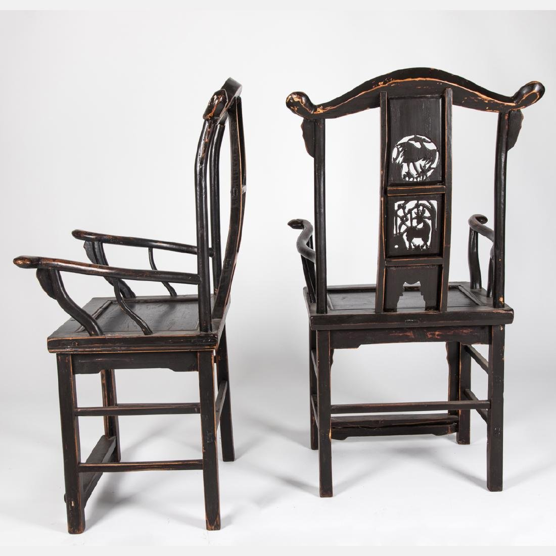 A Pair of Chinese Carved and Painted Yokeback - 6