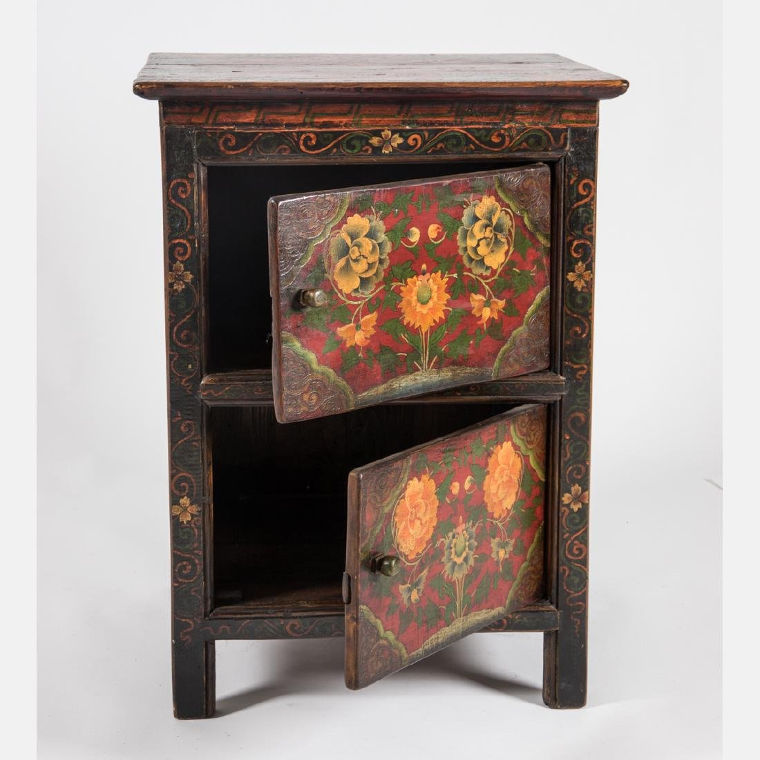A Tibetan Painted Wood Two Drawer Side Table, 20th - 2