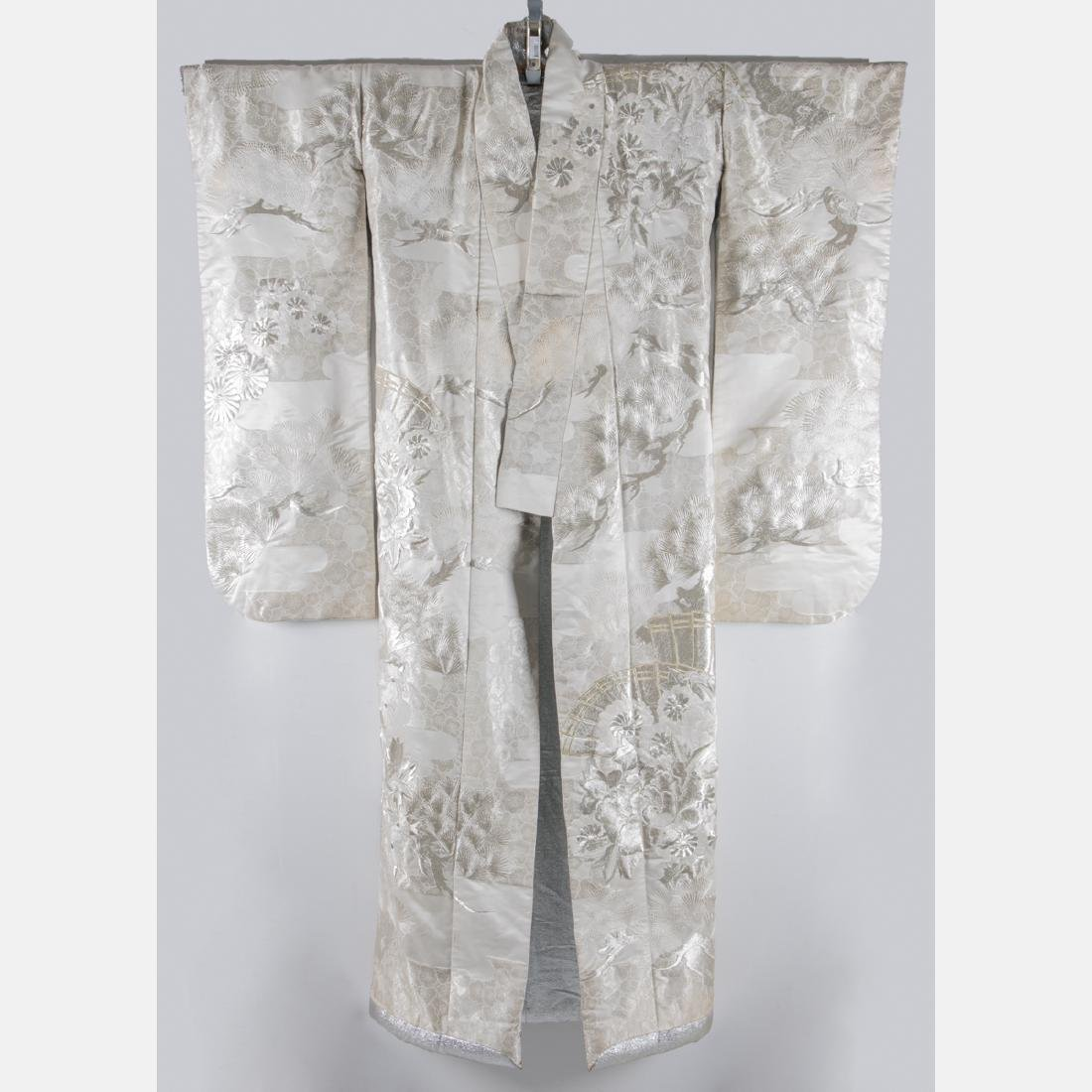 A Japanese Metallic and Silk Embroidered Kimono, 20th