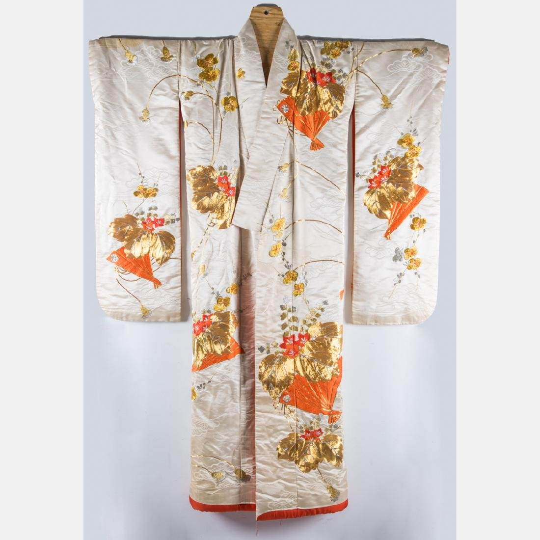 A Japanese Metallic and Silk Embroidered Kimono, 20th